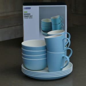 OUTWELL Bamboe servies 4 p. Iris Blue